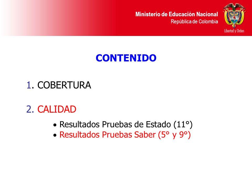 Ministerio de Educación Nacional República de Colombia CONTENIDO 1. COBERTURA 2. CALIDAD Resultados Pruebas de Estado (11°) Resultados Pruebas Saber (