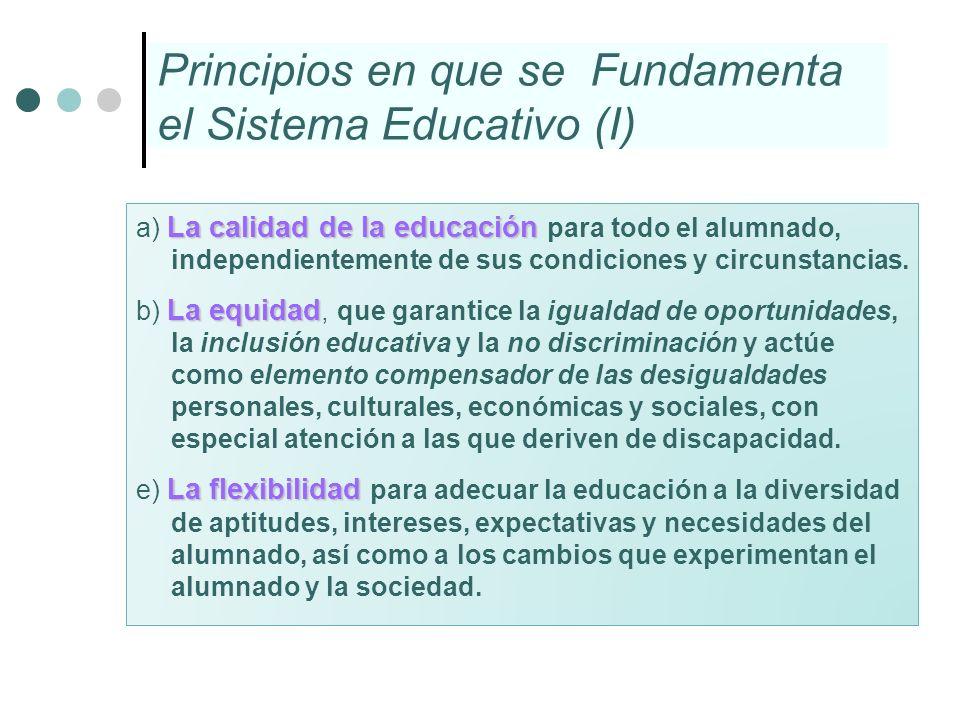 Principios en que se Fundamenta el Sistema Educativo (I) La calidad de la educación a) La calidad de la educación para todo el alumnado, independiente