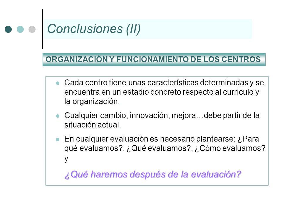 Cada centro tiene unas características determinadas y se encuentra en un estadio concreto respecto al currículo y la organización. Cualquier cambio, i