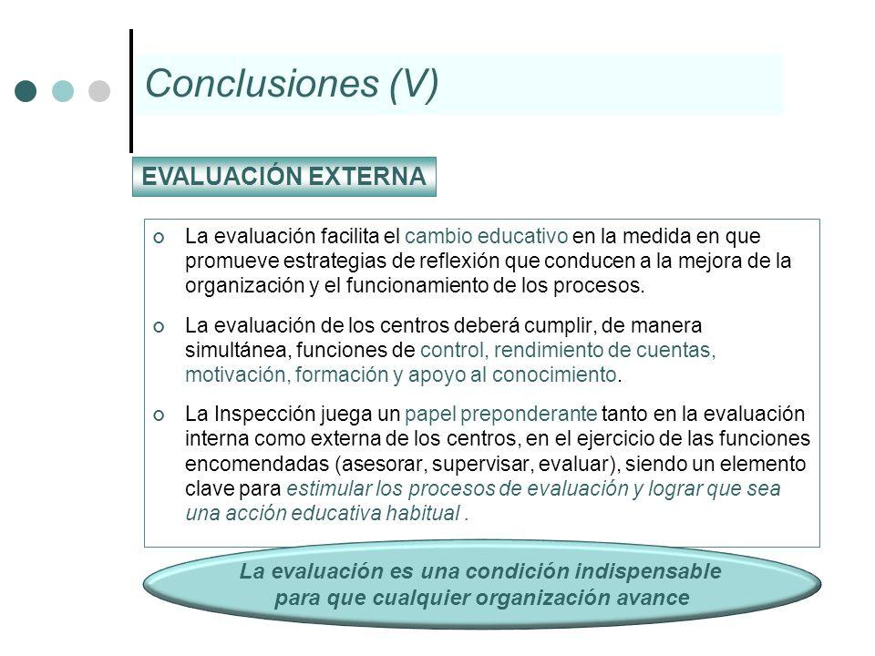 La evaluación facilita el cambio educativo en la medida en que promueve estrategias de reflexión que conducen a la mejora de la organización y el func