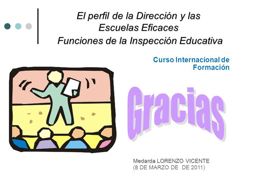 El perfil de la Dirección y las Escuelas Eficaces Funciones de la Inspección Educativa Curso Internacional de Formación Medarda LORENZO VICENTE (8 DE
