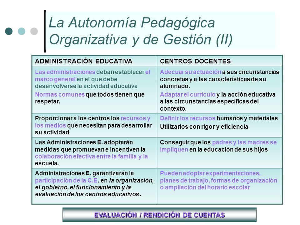 La Autonomía Pedagógica Organizativa y de Gestión (II) ADMINISTRACIÓN EDUCATIVA CENTROS DOCENTES Las administraciones deban establecer el marco genera