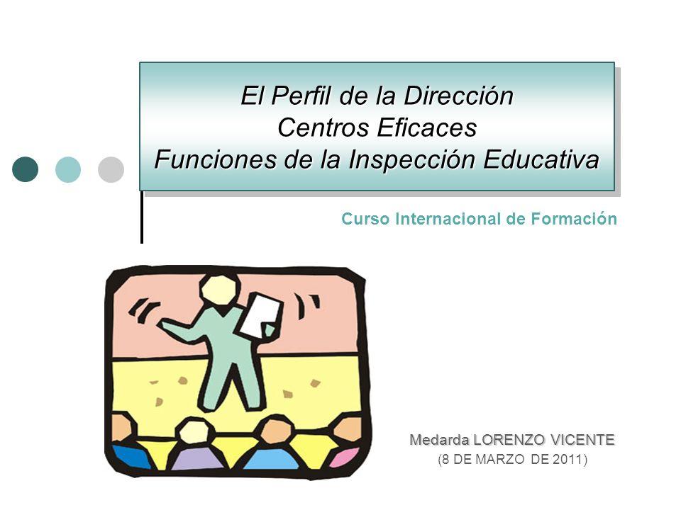 El Perfil de la Dirección Centros Eficaces Funciones de la Inspección Educativa Medarda LORENZO VICENTE (8 DE MARZO DE 2011) Curso Internacional de Fo