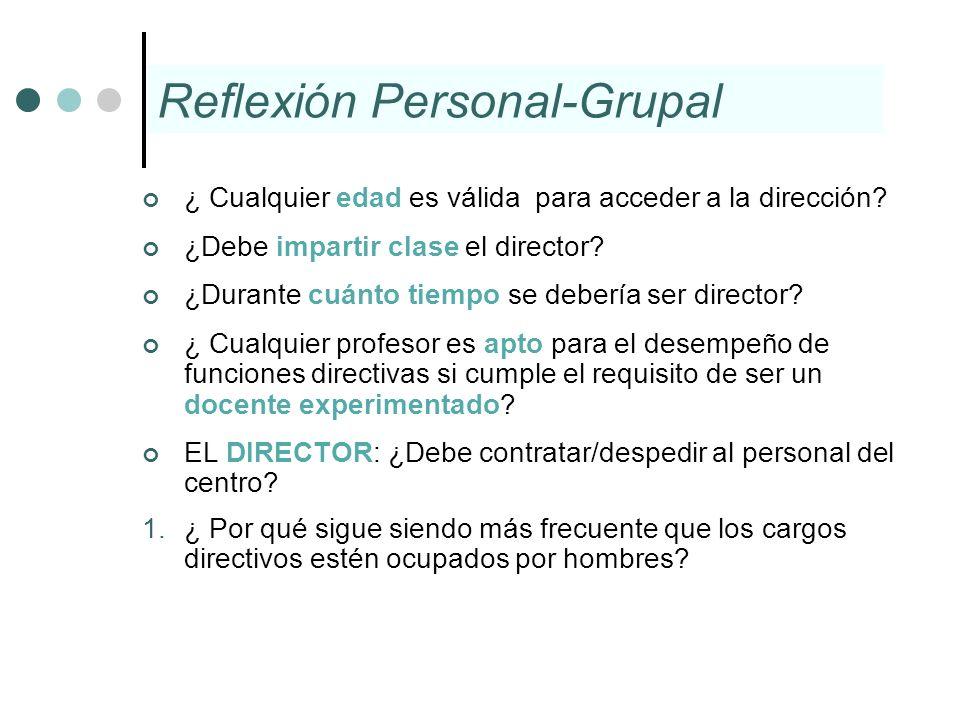 Reflexión Personal-Grupal ¿ Cualquier edad es válida para acceder a la dirección? ¿Debe impartir clase el director? ¿Durante cuánto tiempo se debería