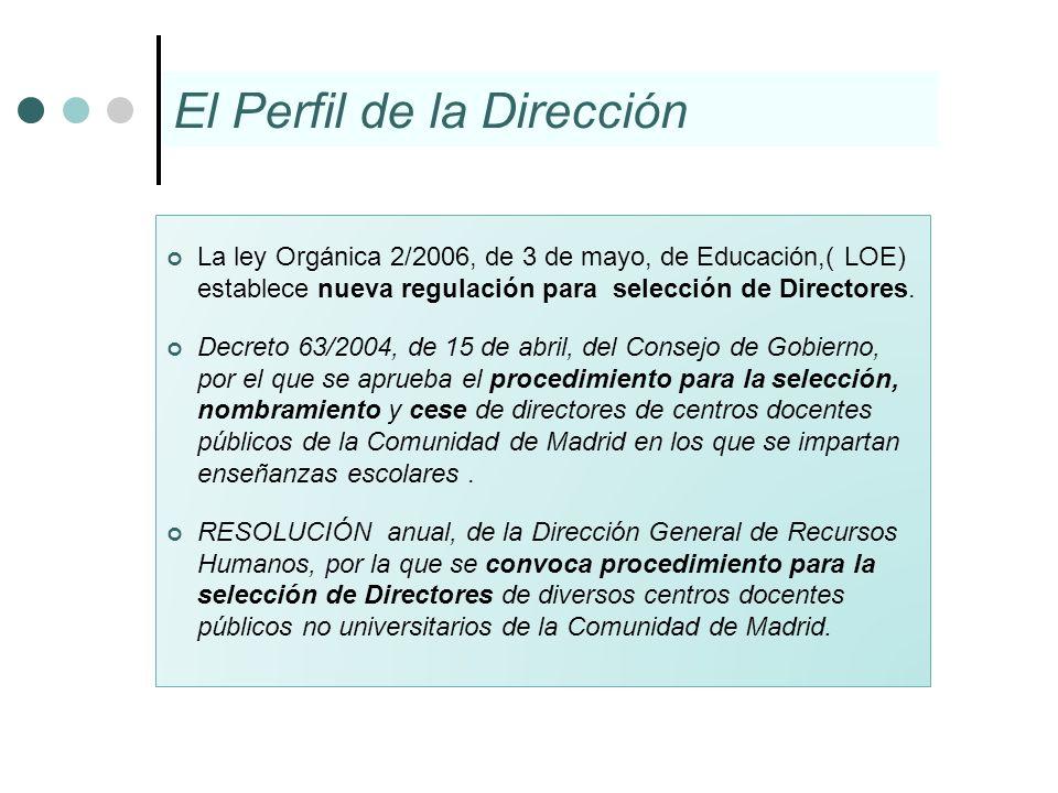 El Perfil de la Dirección La ley Orgánica 2/2006, de 3 de mayo, de Educación,( LOE) establece nueva regulación para selección de Directores. Decreto 6