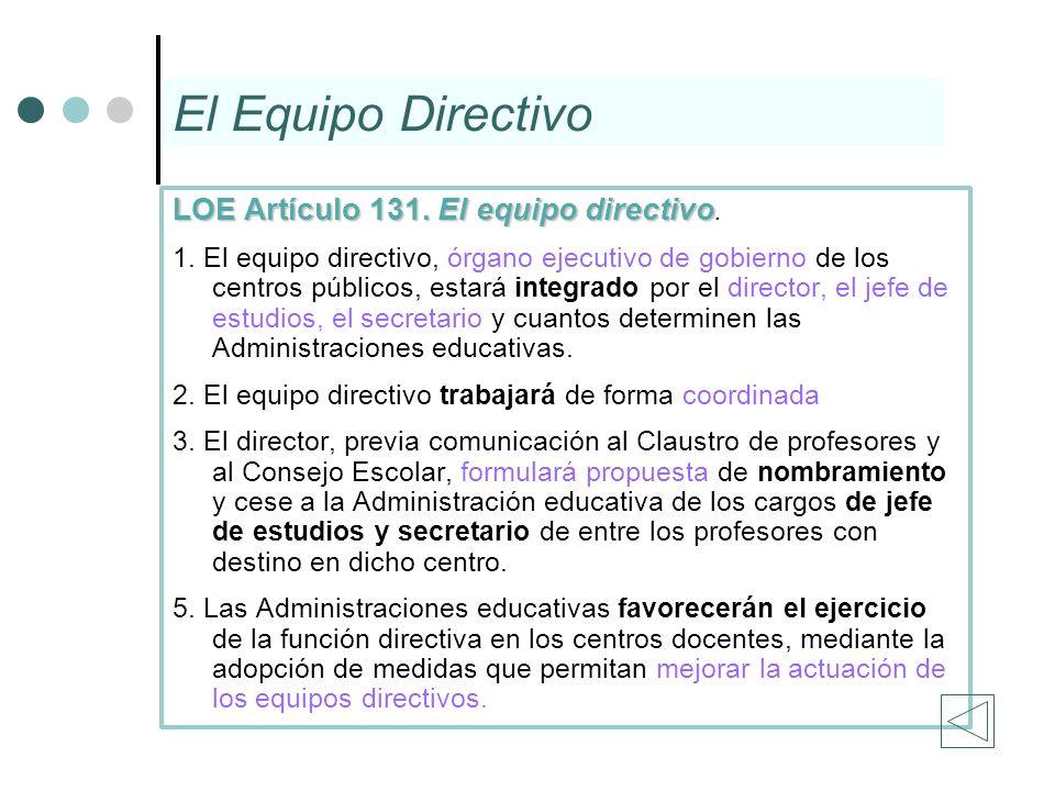 El Equipo Directivo LOE Artículo 131. El equipo directivo LOE Artículo 131. El equipo directivo. 1. El equipo directivo, órgano ejecutivo de gobierno