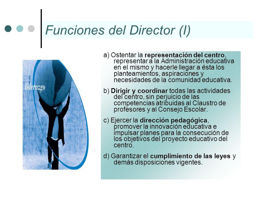 Funciones del Director (I) a) Ostentar la representación del centro, representar a la Administración educativa en el mismo y hacerle llegar a ésta los