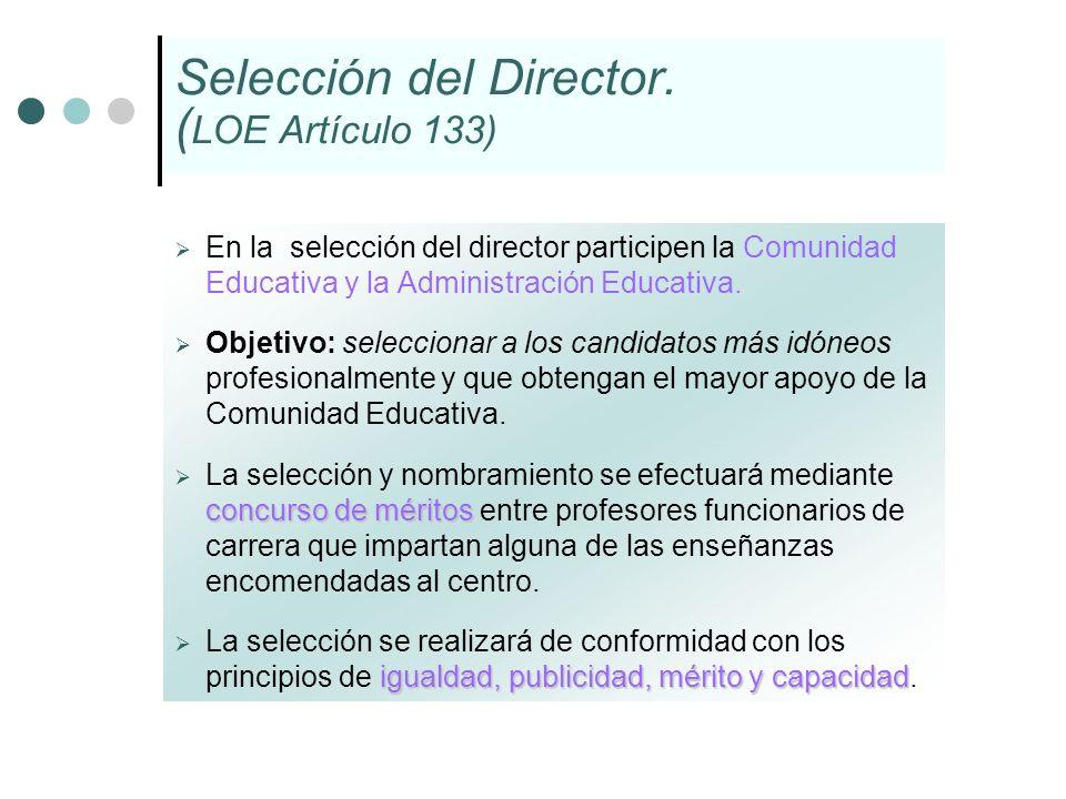 Selección del Director. ( LOE Artículo 133) En la selección del director participen la Comunidad Educativa y la Administración Educativa. Objetivo: se