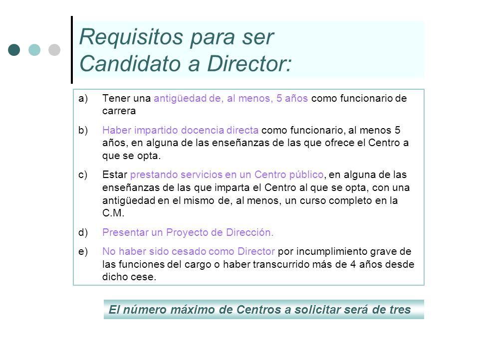 Requisitos para ser Candidato a Director: a)Tener una antigüedad de, al menos, 5 años como funcionario de carrera b) Haber impartido docencia directa