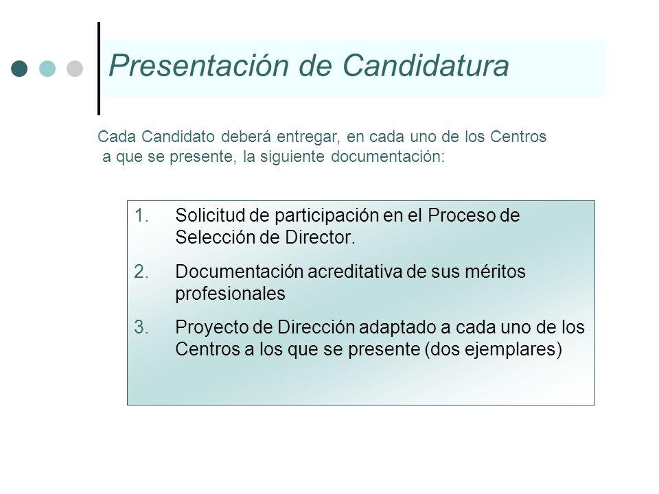 1.Solicitud de participación en el Proceso de Selección de Director. 2.Documentación acreditativa de sus méritos profesionales 3.Proyecto de Dirección