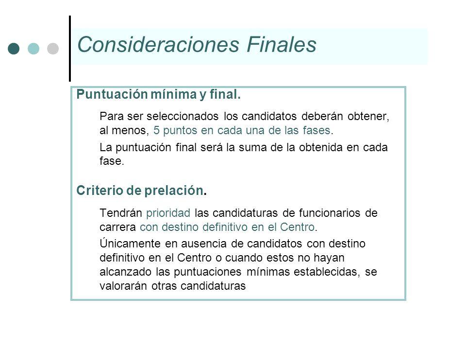 Puntuación mínima y final. Para ser seleccionados los candidatos deberán obtener, al menos, 5 puntos en cada una de las fases. La puntuación final ser