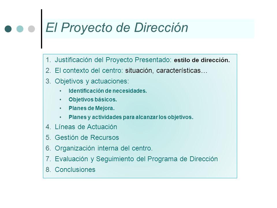 1.Justificación del Proyecto Presentado: estilo de dirección. 2.El contexto del centro: situación, características… 3.Objetivos y actuaciones: Identif