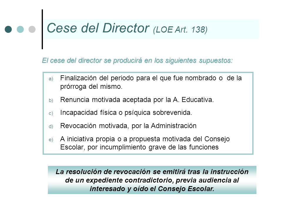 a) Finalización del periodo para el que fue nombrado o de la prórroga del mismo. b) Renuncia motivada aceptada por la A. Educativa. c) Incapacidad fís