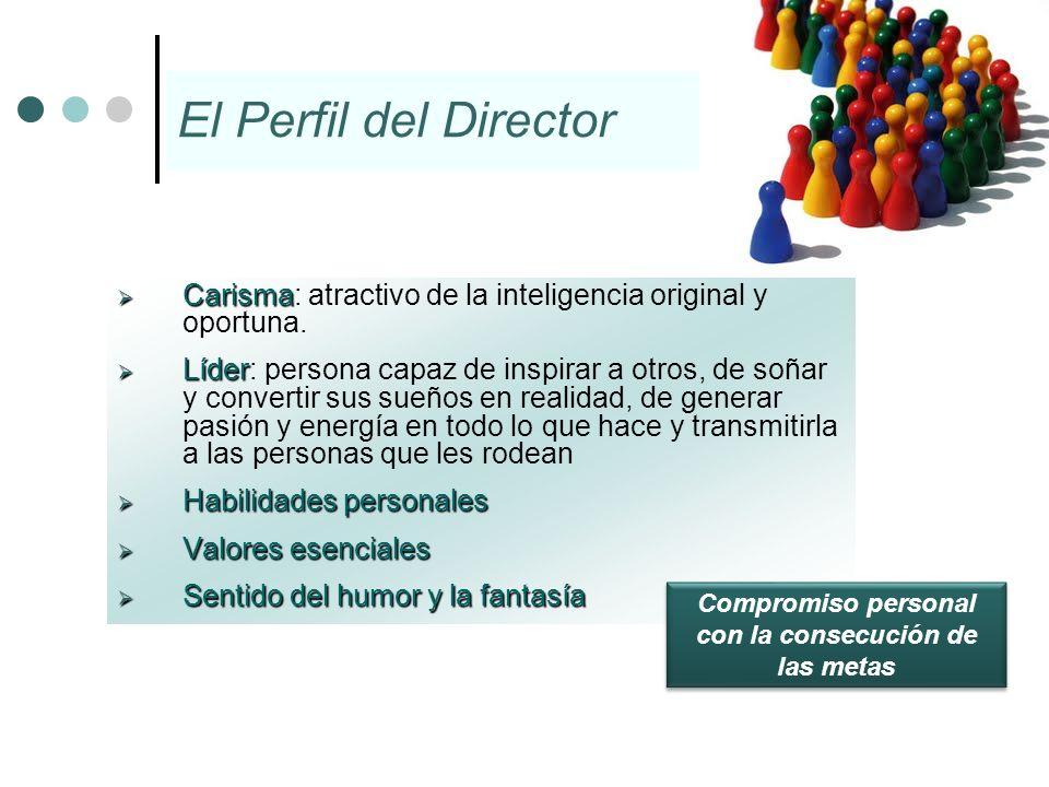 El Perfil del Director Carisma Carisma: atractivo de la inteligencia original y oportuna. Líder Líder: persona capaz de inspirar a otros, de soñar y c