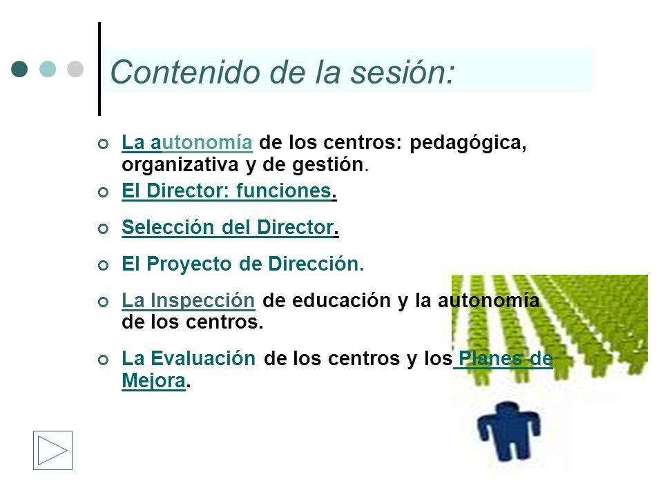 La autonomía de los centros: pedagógica, organizativa y de gestión. La a El Director: funciones. El Director: funciones Selección del Director. Selecc