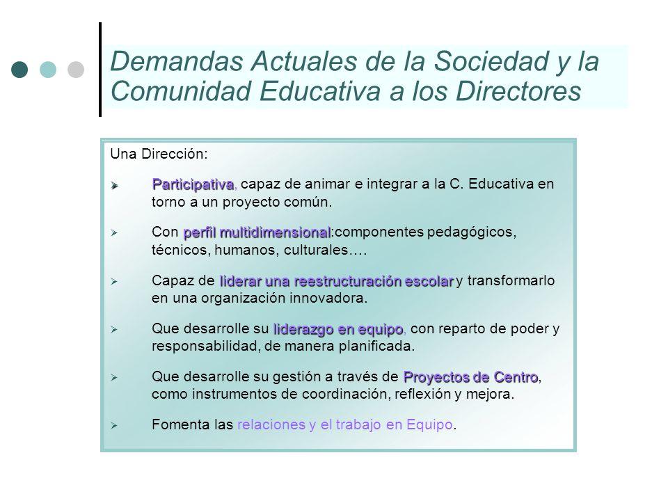Una Dirección: Participativa Participativa, capaz de animar e integrar a la C. Educativa en torno a un proyecto común. perfil multidimensional Con per