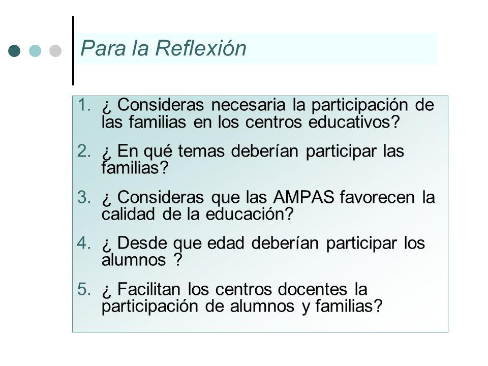1.¿ Consideras necesaria la participación de las familias en los centros educativos? 2.¿ En qué temas deberían participar las familias? 3.¿ Consideras