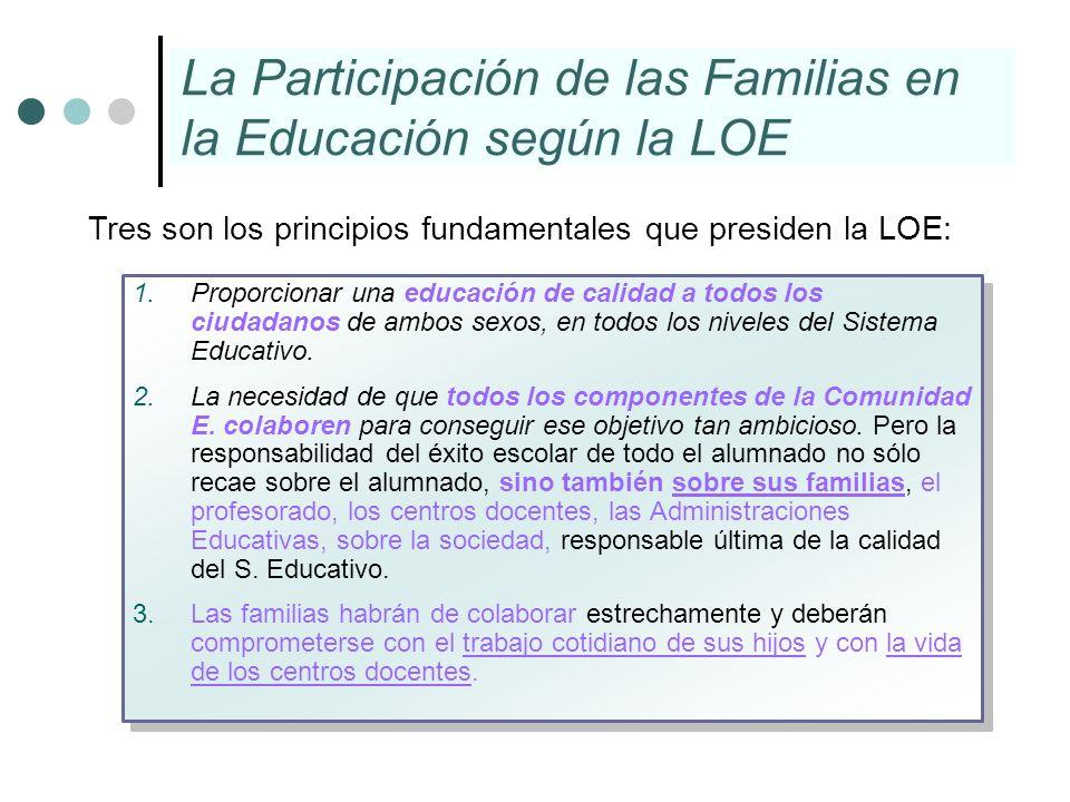 La Participación de las Familias en la Educación según la LOE 1.Proporcionar una educación de calidad a todos los ciudadanos de ambos sexos, en todos