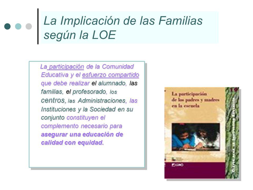 La Implicación de las Familias según la LOE La participación de la Comunidad Educativa y el esfuerzo compartido que debe realizar el alumnado, las fam