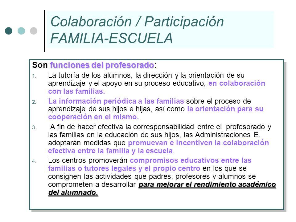 Colaboración / Participación FAMILIA-ESCUELA funciones del profesorado Son funciones del profesorado: 1. La tutoría de los alumnos, la dirección y la