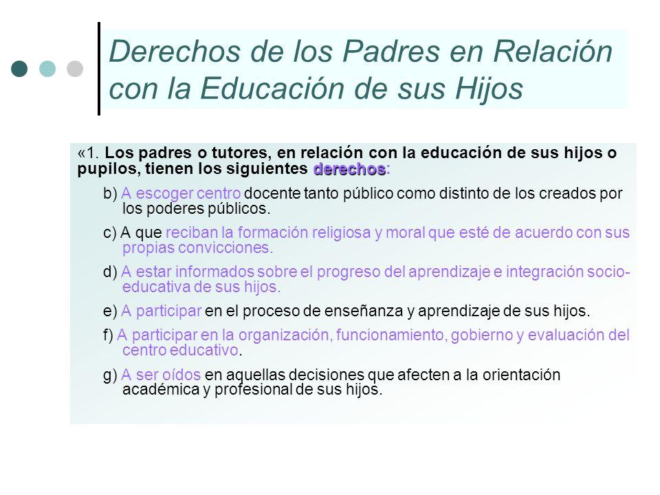 Derechos de los Padres en Relación con la Educación de sus Hijos derechos «1. Los padres o tutores, en relación con la educación de sus hijos o pupilo