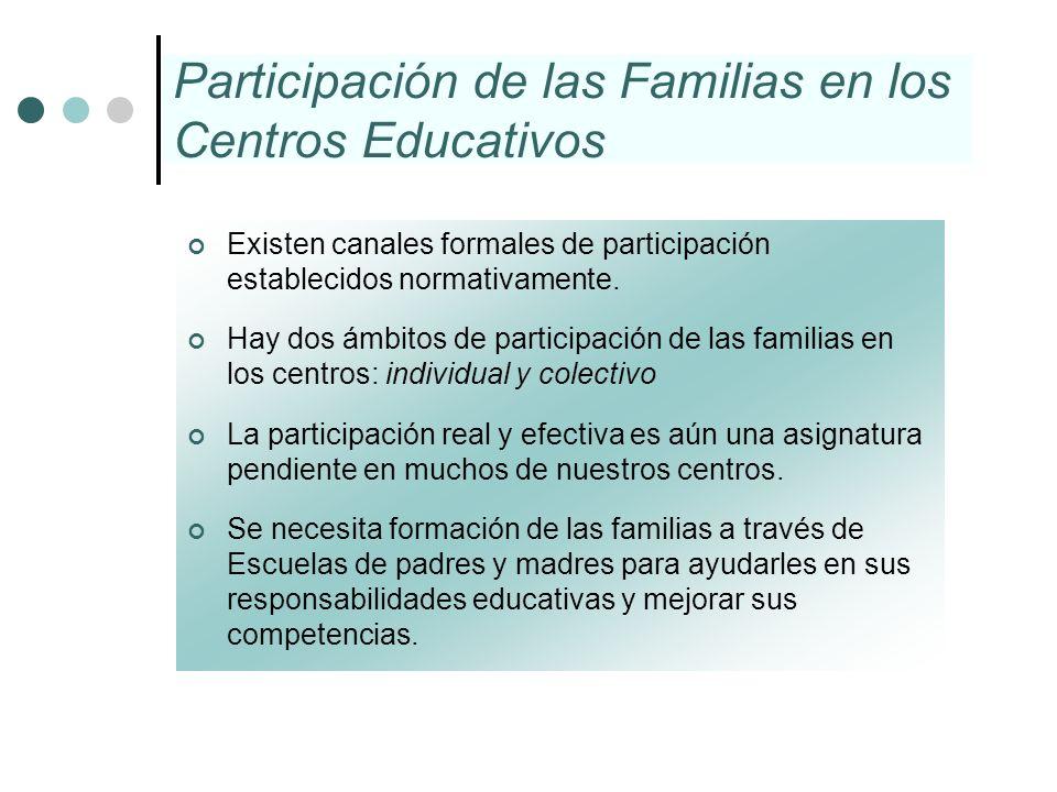 Participación de las Familias en los Centros Educativos Existen canales formales de participación establecidos normativamente. Hay dos ámbitos de part