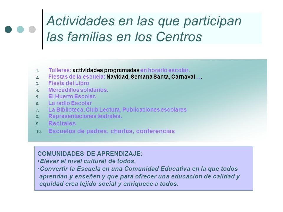 Actividades en las que participan las familias en los Centros 1. Talleres: actividades programadas en horario escolar. 2. Fiestas de la escuela: Navid