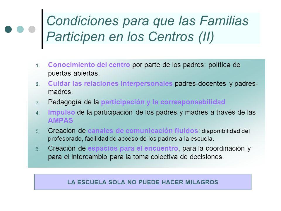 Condiciones para que las Familias Participen en los Centros (II) 1. Conocimiento del centro por parte de los padres: política de puertas abiertas. 2.