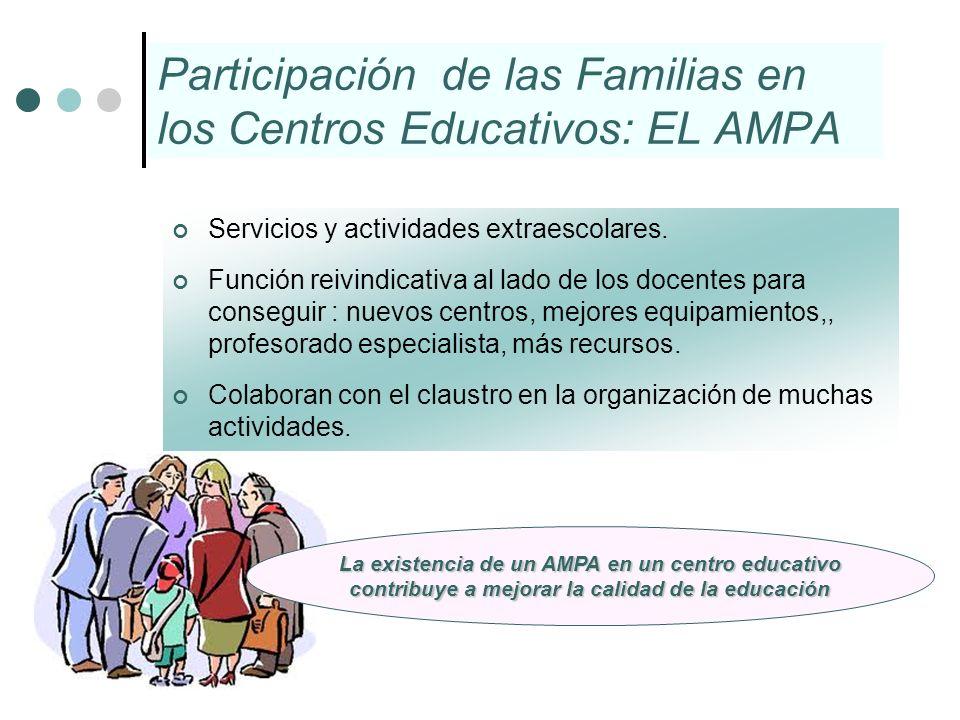 Participación de las Familias en los Centros Educativos: EL AMPA Servicios y actividades extraescolares. Función reivindicativa al lado de los docente