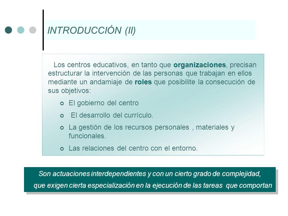 Participación en el Funcionamiento y el Gobierno de los Centros La Comunidad Educativa Consejo Escolar.