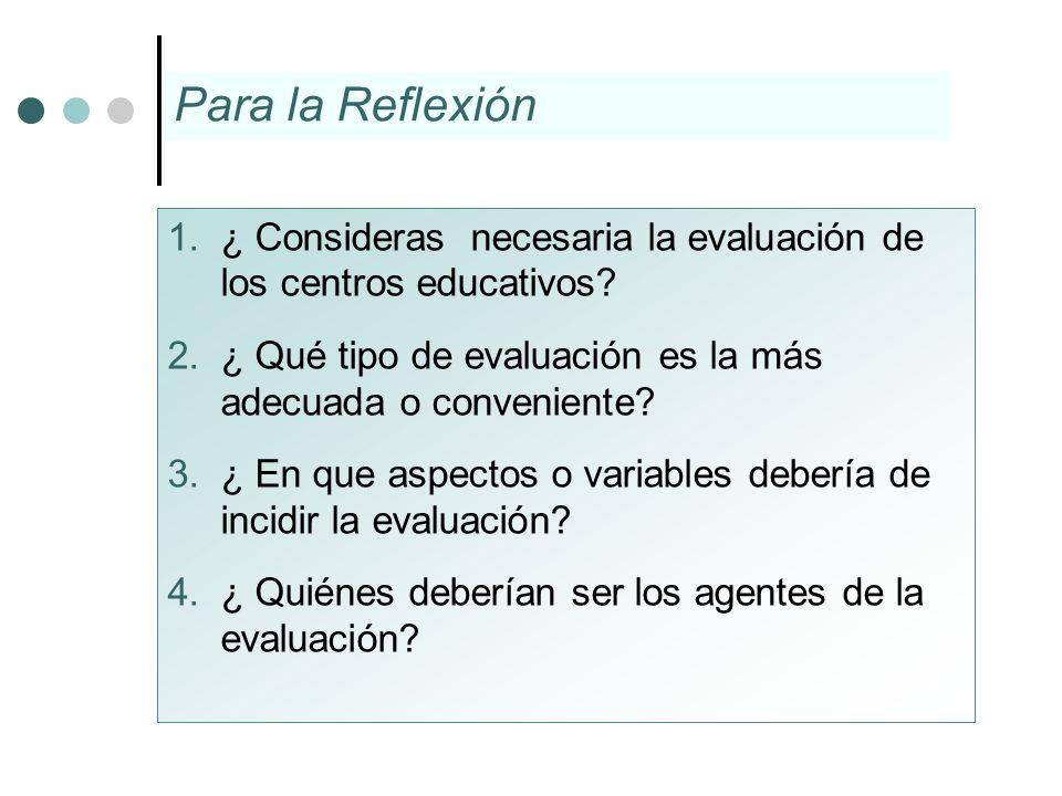1.¿ Consideras necesaria la evaluación de los centros educativos? 2.¿ Qué tipo de evaluación es la más adecuada o conveniente? 3.¿ En que aspectos o v