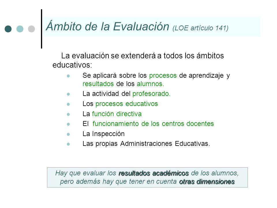 La evaluación se extenderá a todos los ámbitos educativos: Se aplicará sobre los procesos de aprendizaje y resultados de los alumnos. La actividad del