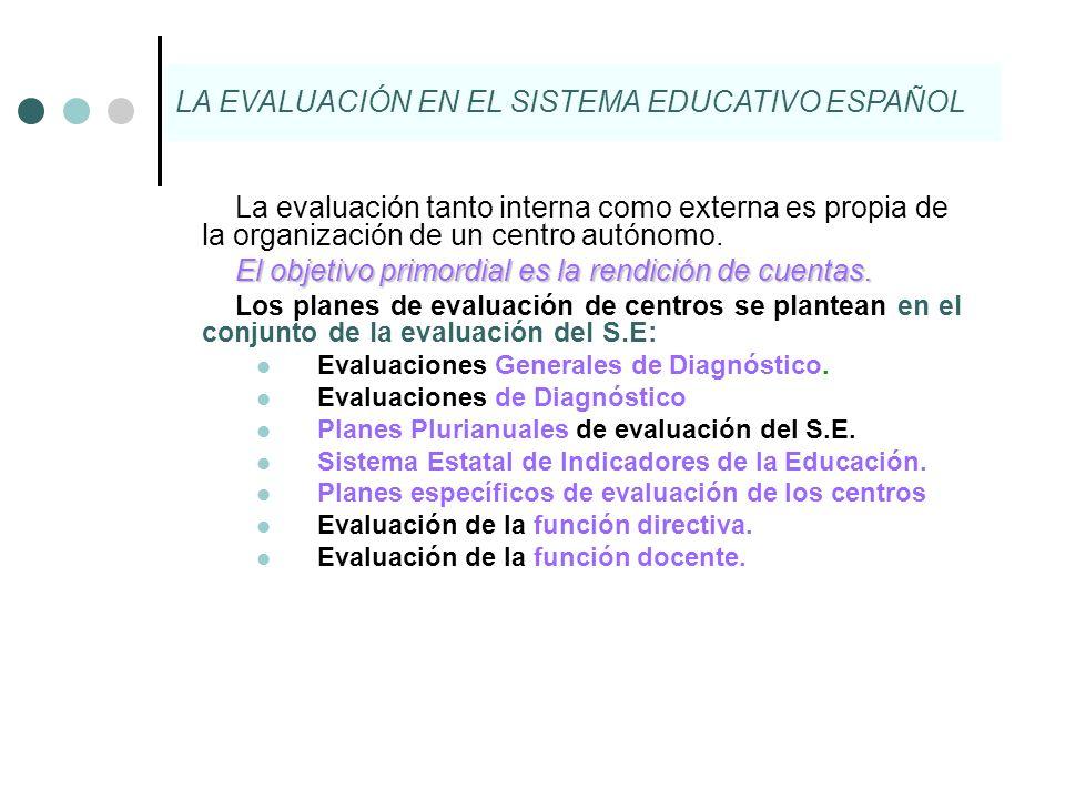 La evaluación tanto interna como externa es propia de la organización de un centro autónomo. El objetivo primordial es la rendición de cuentas. Los pl