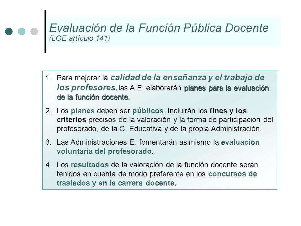 planes para la evaluación de la función docente. 1.Para mejorar la calidad de la enseñanza y el trabajo de los profesores, las A.E. elaborarán planes