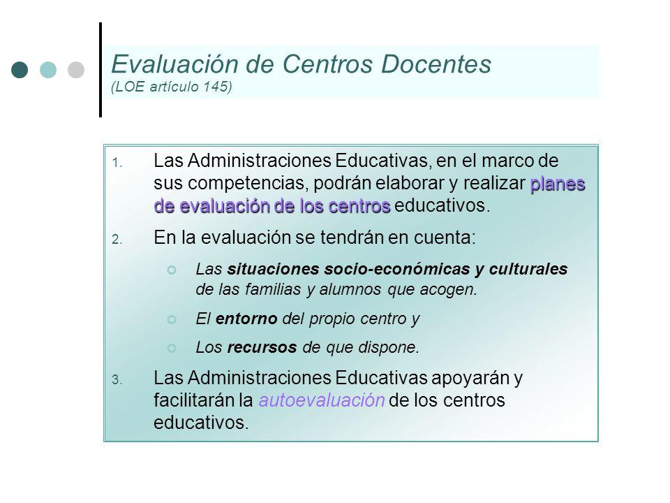 planes de evaluaciónde los centros 1. Las Administraciones Educativas, en el marco de sus competencias, podrán elaborar y realizar planes de evaluació