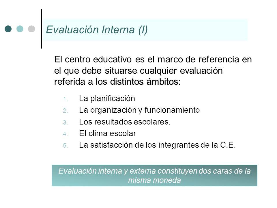 distintos ámbitos El centro educativo es el marco de referencia en el que debe situarse cualquier evaluación referida a los distintos ámbitos: 1. La p