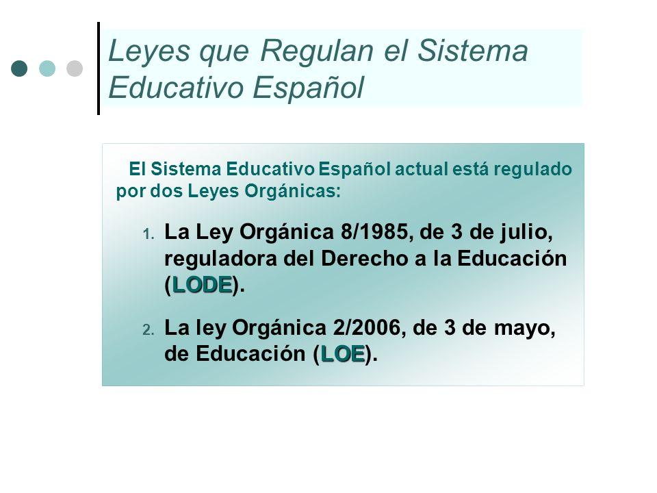 Leyes que Regulan el Sistema Educativo Español El Sistema Educativo Español actual está regulado por dos Leyes Orgánicas: LODE 1. La Ley Orgánica 8/19