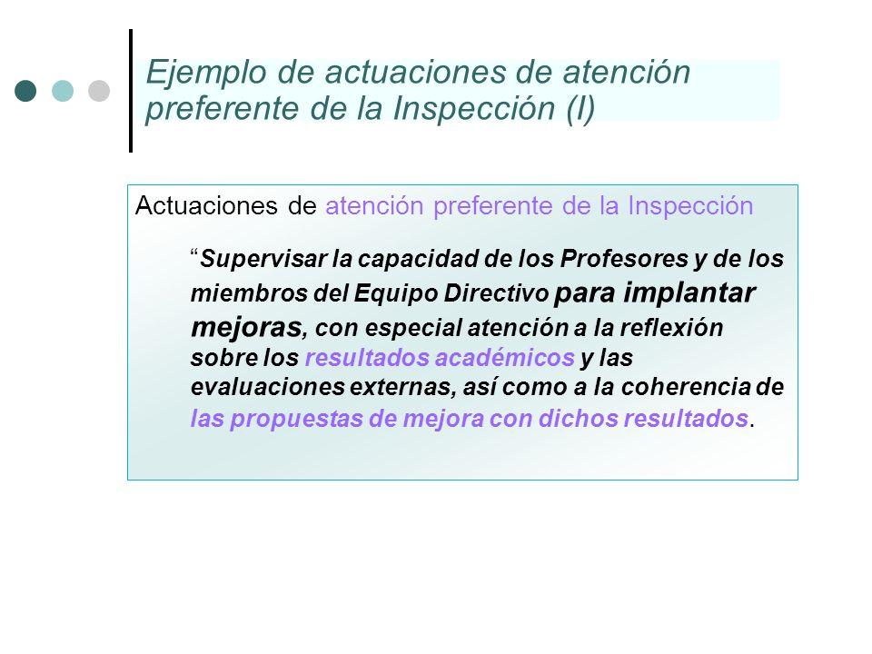 Actuaciones de atención preferente de la Inspección Supervisar la capacidad de los Profesores y de los miembros del Equipo Directivo para implantar me