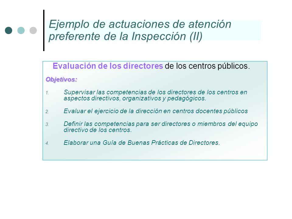Evaluación de los directores de los centros públicos.Objetivos: 1. Supervisar las competencias de los directores de los centros en aspectos directivos