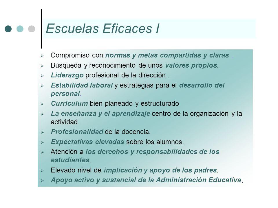 Escuelas Eficaces I Compromiso con normas y metas compartidas y claras. Búsqueda y reconocimiento de unos valores propios. Liderazgo profesional de la