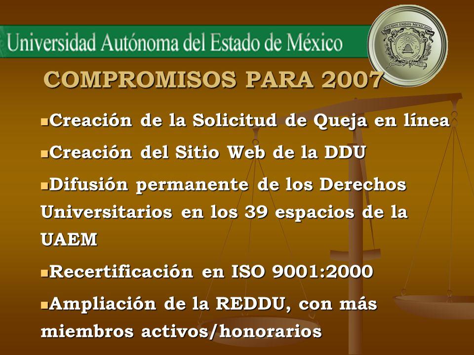 COMPROMISOS PARA 2007 Creación de la Solicitud de Queja en línea Creación de la Solicitud de Queja en línea Creación del Sitio Web de la DDU Creación