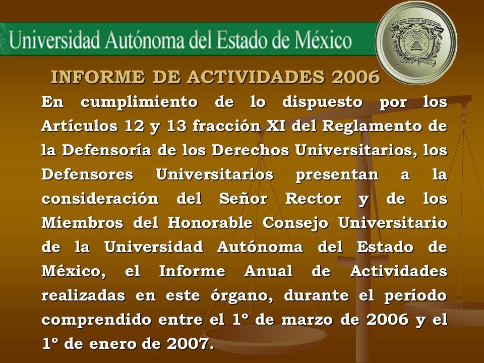 INFORME DE ACTIVIDADES 2006 En cumplimiento de lo dispuesto por los Artículos 12 y 13 fracción XI del Reglamento de la Defensoría de los Derechos Univ