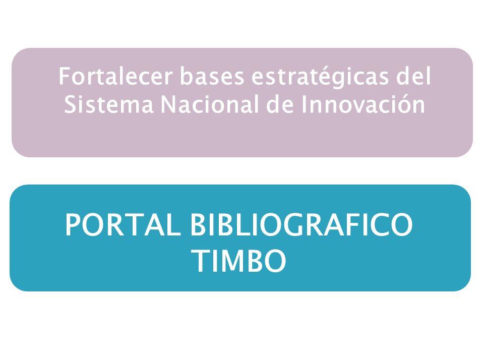 PORTAL BIBLIOGRAFICO TIMBO Fortalecer bases estratégicas del Sistema Nacional de Innovación