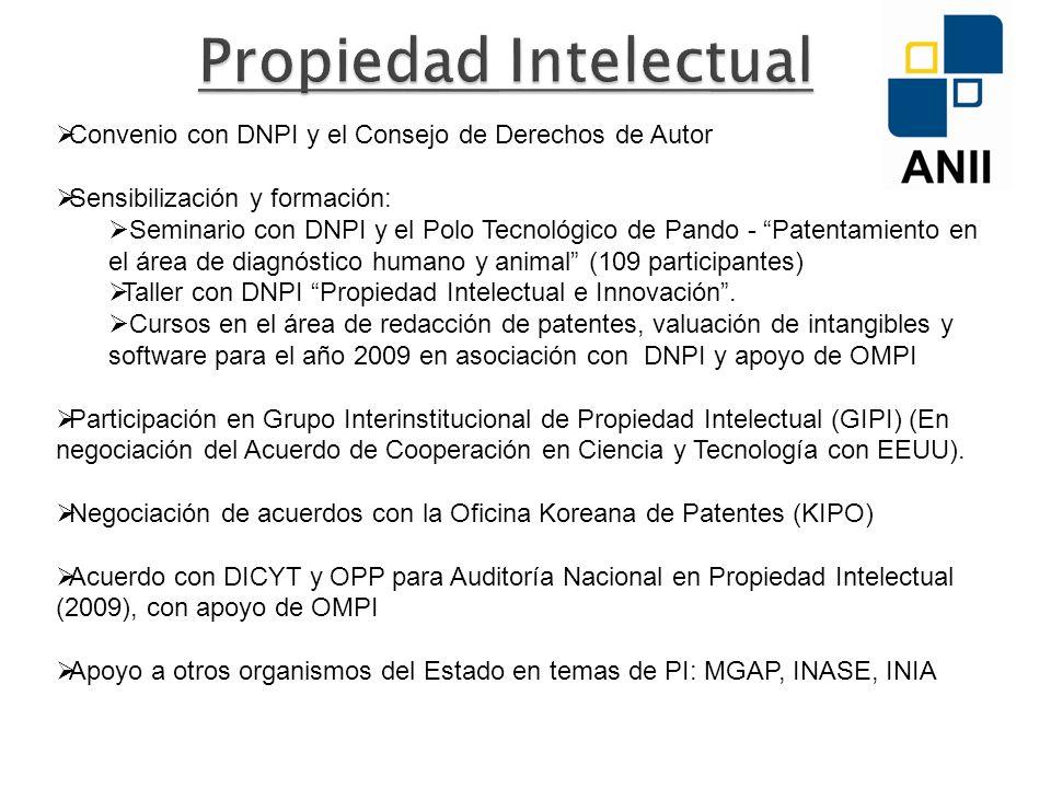 Convenio con DNPI y el Consejo de Derechos de Autor Sensibilización y formación: Seminario con DNPI y el Polo Tecnológico de Pando - Patentamiento en el área de diagnóstico humano y animal (109 participantes) Taller con DNPI Propiedad Intelectual e Innovación.
