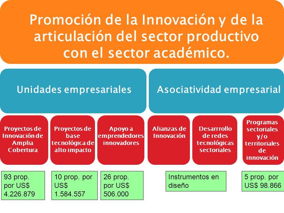 Alianzas de Innovación Desarrrollo de redes tecnológicas sectoriales Programas sectoriales y/o territoriales de innovación Proyectos de Innovación de Amplia Cobertura Proyectos de base tecnológica de alto impacto Apoyo a emprendedores innovadores 93 prop.