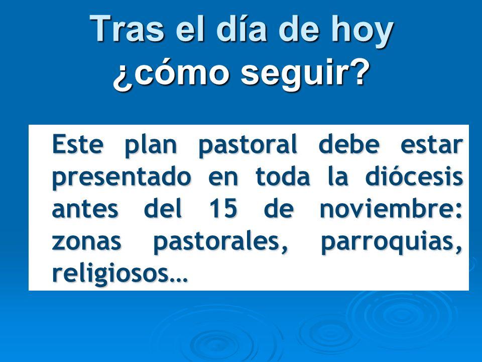 Tras el día de hoy ¿cómo seguir? Este plan pastoral debe estar presentado en toda la diócesis antes del 15 de noviembre: zonas pastorales, parroquias,