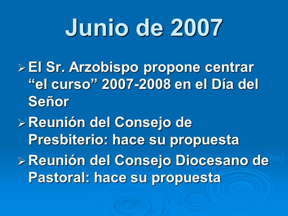 Junio de 2007 El Sr. Arzobispo propone centrar el curso 2007-2008 en el Día del Señor El Sr. Arzobispo propone centrar el curso 2007-2008 en el Día de