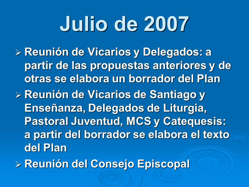 Julio de 2007 Reunión de Vicarios y Delegados: a partir de las propuestas anteriores y de otras se elabora un borrador del Plan Reunión de Vicarios y