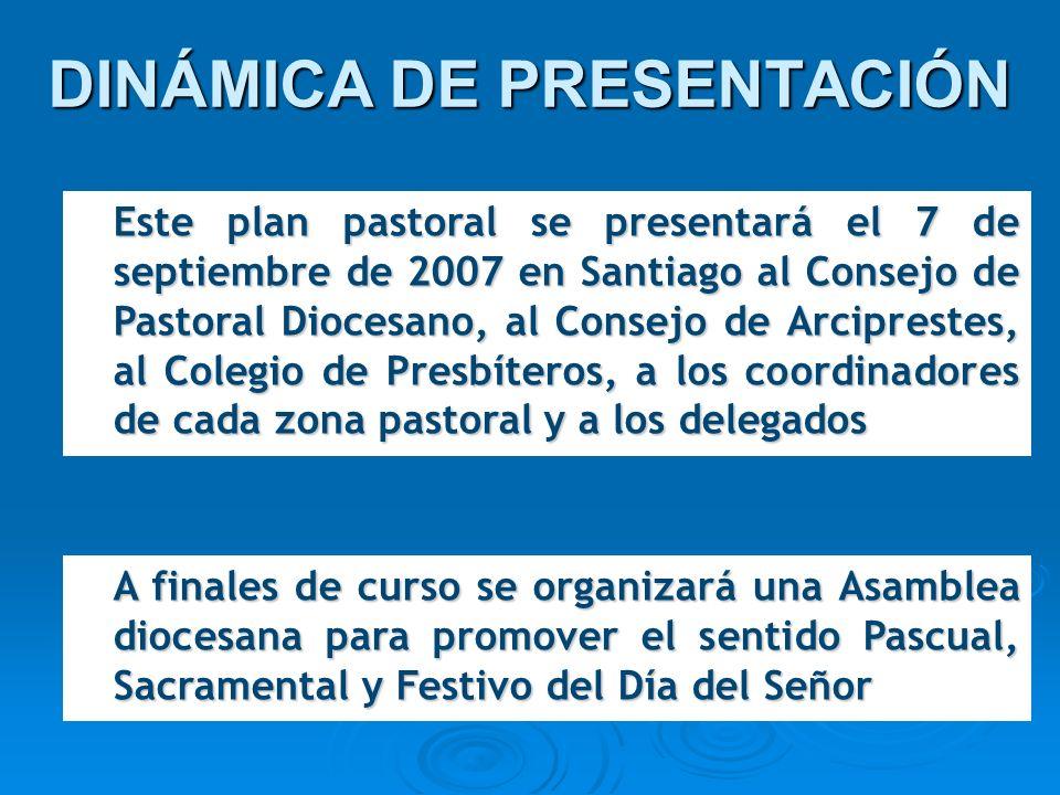 DINÁMICA DE PRESENTACIÓN Este plan pastoral se presentará el 7 de septiembre de 2007 en Santiago al Consejo de Pastoral Diocesano, al Consejo de Arcip