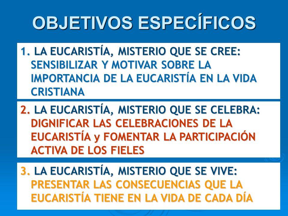 OBJETIVOS ESPECÍFICOS 1. LA EUCARISTÍA, MISTERIO QUE SE CREE: SENSIBILIZAR Y MOTIVAR SOBRE LA IMPORTANCIA DE LA EUCARISTÍA EN LA VIDA CRISTIANA 2. LA